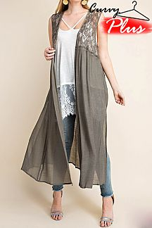 SOLID FEATURING LACE MAXI CARDIGAN