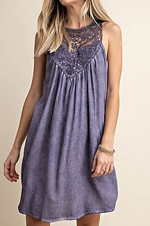 SOLID FEATURING LACE SLEEVELESS DRESS