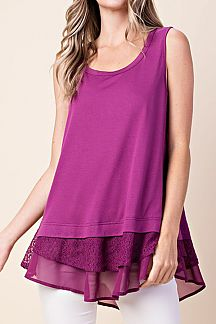 SOLID SLEEVELESS LACE DETAIL TOP