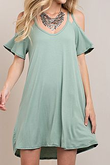 SOLID DOUBLE BINDING COLD SHOULDER DRESS
