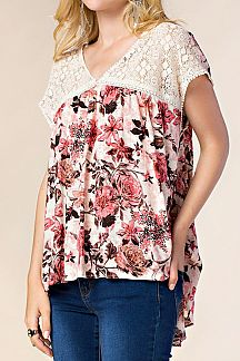 FLOWER PRINT LACE YORK TOP