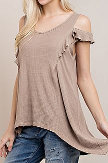 SOLID COLD SHOULDER RUFFLED SLEEVES TOP