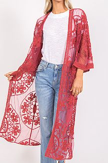 EMBROIDERED FLORAL LACE MAXI OPEN CARDIGAN