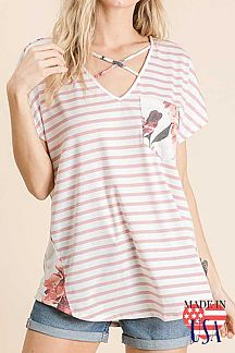STRIPED AND FLORAL PRINT COLOR BLOCK TOP