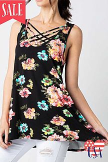 FLORAL PRINT LATTICE NECK SLEEVELESS TUNIC TOP