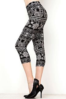 YOGA WAIST ELEPHANT PRINT CAPRI LEGGINGS