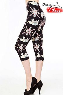 ETHNIC ELEPHANT PRINT CAPRI LEGGINGS