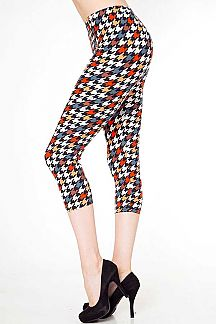 MULTI-COLOR HOUNDSTOOTH PRINT CAPRI LEGGINGS