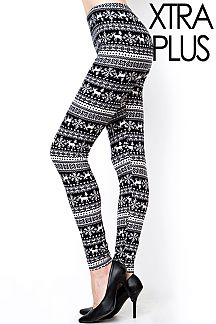 XTRA PLUS SIZE FAIR ISLE PRINT LEGGINGS