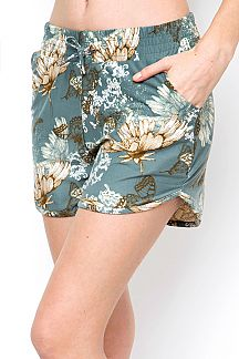 BUTTERFLY PRINT DOLPHIN SHORTS