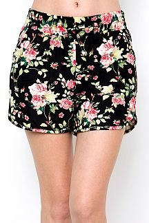 FLORAL PRINT DOLPHIN SHORTS