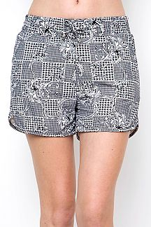UNIQUE HOUNDSTOOTH PRINT DOLPHIN SHORTS