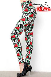 ROSE & DIAMOND PATTERN PRINT LEGGINGS