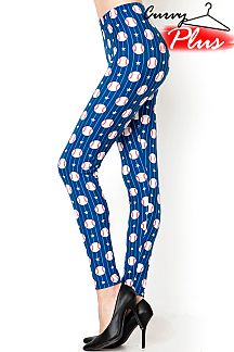 PLUS SIZE BASEBALL PRINT LEGGINGS
