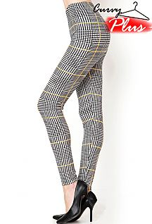 PLUS SIZE HOUNDSTOOTH PRINT LEGGINGS