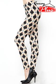 PLUS SIZE CHRISTMAS ORNAMENTS PRINT LEGGINGS