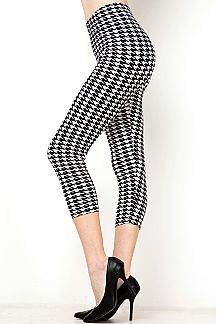 HOUNDSTOOTH PRINT CAPRI LEGGINGS