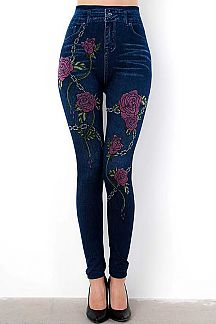 DARK WASH DENIM & FLORAL PRINT JEGGINGS