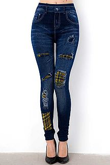 DISTRESSED DENIM PLAID PATCH PRINT JEGGINGS