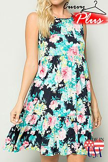 FLORAL PRINT SLEEVELESS RUFFLED DRESS