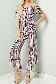 [PREORDER 03/05/19] STRIPE PRINT OFF SHOULDER JUMPSUIT