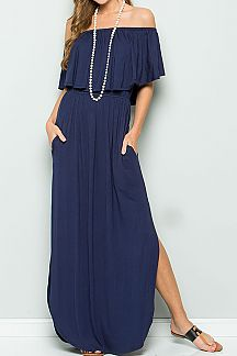 SOLID OFF SHOULDER RUFFLED MAXI DRESS