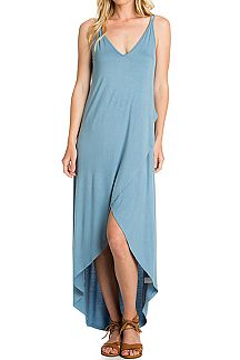 SOLID DOUBLE LAYER WARP MAXI DRESS