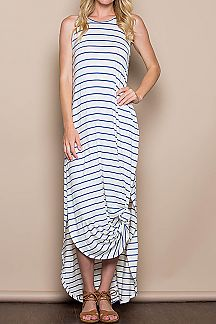 STRIPE PRINT ROUND MAXI DRESS