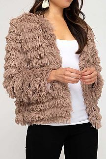 SOLID LAYERED FAUX FUR JACKET