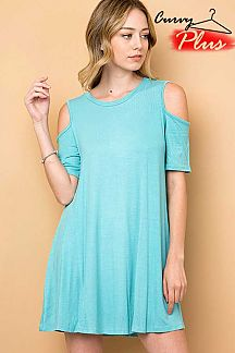 SOLID COLD SHOULDER DRESS