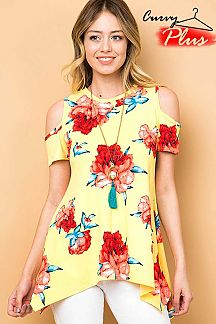 FLORAL PRINT COLD SHOULDER TUNIC