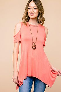 Short sleeve scoop neck solid handkerchief tunic top