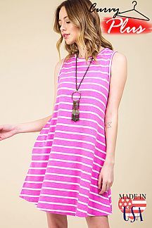 STRIPED SLEEVELESS KEYHOLE DRESS