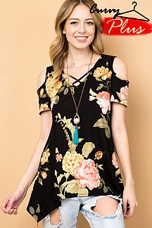 FLORAL PRINT CRISS CROSS TUNIC