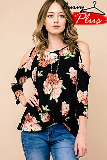 FLORAL PRINT COLD SHOULDER TUNIC TOP WITH FRONT KNOT