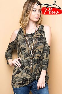 CAMOUFLAGE PRINT COLD SHOULDER TUNIC