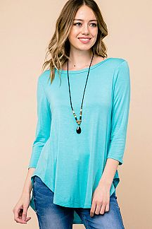 SOLID 3/4 SLEEVE ROUND HEM TUNIC TOP