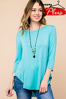 PLUS SOLID 3/4 SLEEVE ROUND HEM TUNIC TOP