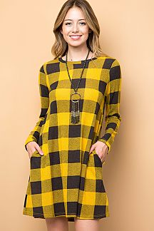 PLAID PRINT SWING DRESS