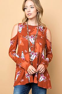 BIG HORN PRINT COLD SHOULDER TOP