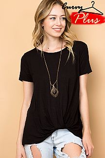 SOLID FRONT KNOT DETAIL TOP