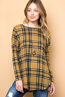 PLAID PRINT TUNIC TOP