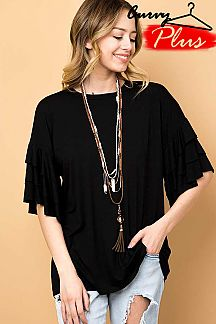 TRIPLE LAYERED SLEEVE TOP