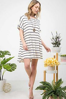 STRIPE BABYDOLL DRESS WITH CROSSED BACK