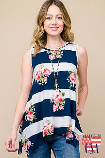 FLORAL & STRIPE PRINT SLEEVELESS TUNIC TOP