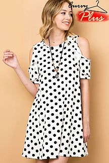 POLKADOT PRINT RUFFLE COLD SHOULDER DRESS