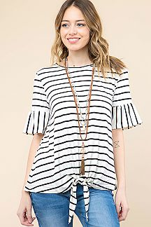 STRIPED RUFFLE TOP WITH FRONT TIE