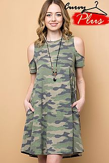 CAMOUFLAGE PRINT COLD SHOULDER DRESS