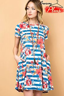 FLORAL & STRIPE PRINT SHIFT DRESS