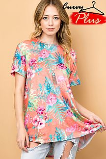 TROPICAL PRINT TUNIC TOP
